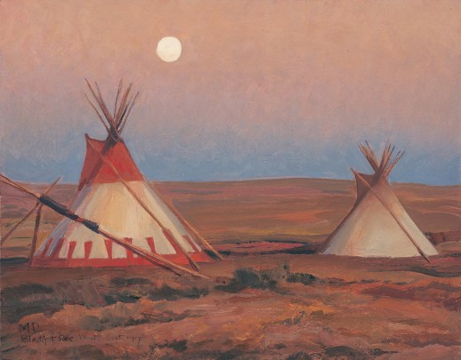 "Maynard Dixon   ""Evening on Blackfoot Reservation"" (detail)   Oil on Canvas   10""x 14"""