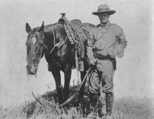 A young Theodore Roosevelt with his beloved horse, Manitou, in 1885 on the Dakota prairie.   Photo courtesy of Theodore Roosevelt Collection. Harvard College Library