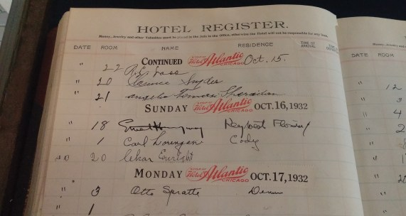 The Chamberlin hotel register bears Hemingway's signature (Oct. 16). Photo by Bill McPherson