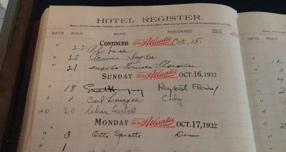 The Chamberlin hotel register bears Hemingway's signature (Oct. 16). Photo by Bill McPherson