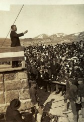 On April 24, 1903, Roosevelt gave a speech honoring the dedication of Yellowstone Park's arched gateway in Gardiner, Montana.   Photo courtesy of Theodore Roosevelt Collection, Harvard College Library