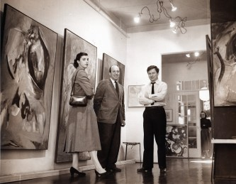 Harry Jackson at his one-man show with Helen Frankenthaler and Clement Greenberg, 1950s.