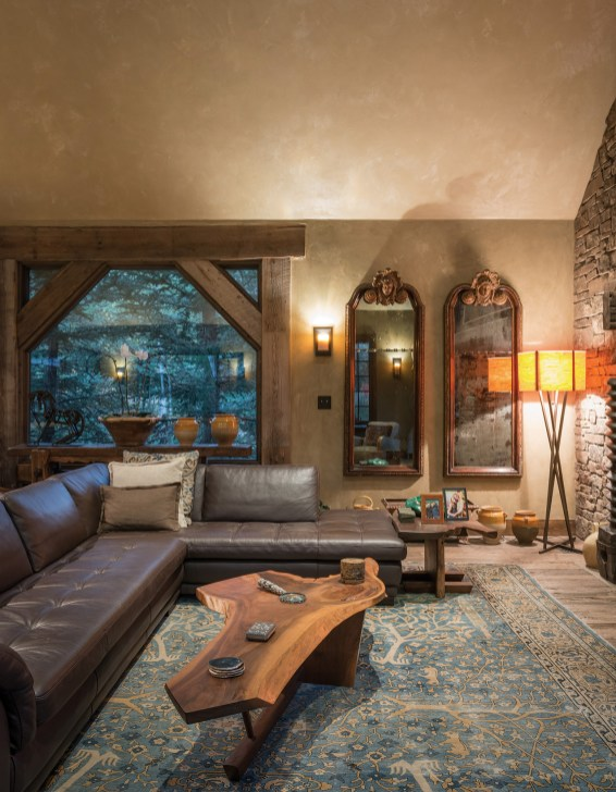 Family heirloom French mirrors, photos, and artwork collected on global journeys make the great room a showcase of the Speyers' passions.