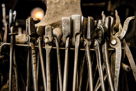 Many of the tools used in the shop, including these tongs, are the same implements used by Rudy Ruana.