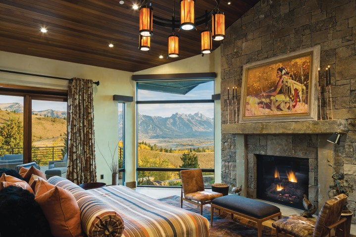 A neutral, nature-influenced palette and a strategically placed corner window in the master bedroom ensure that the focus remains on the view.