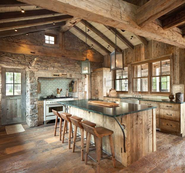 In the kitchen, the refrigerator stands to the right of the stove, camouflaged with a finish that matches the rest of the interior.
