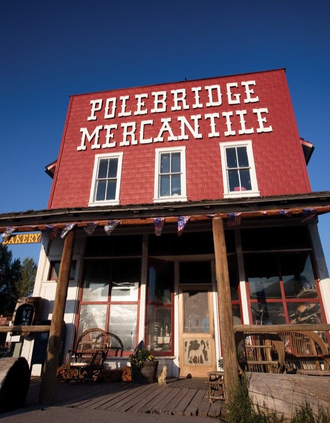 The iconic red front of the Polebridge Mercantile, the heart of town.