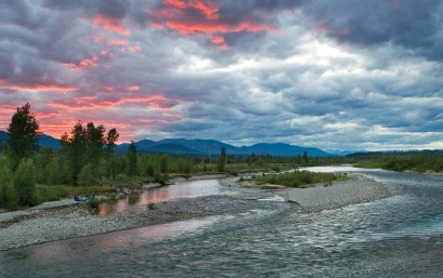 Spectacular colors highlight the clouds over the river channel on the North Fork.