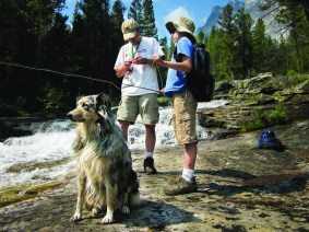 On the lookout in Blodgett Canyon, Scout sits patiently as Tony changes a fly on Jaren's line. Photo by Julie Lue