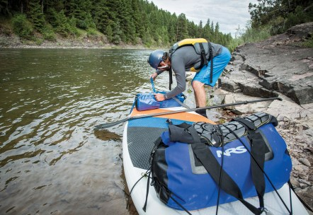Waterproof bags, strapped down securely, are a must for multi-day SUP excursions.