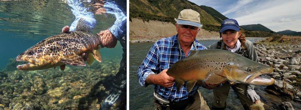 John Hudgens and guide, Ron Sorenson, team up for a fantastic day of fishing for cantankerous wild brown trout on a lesser-known section of the Filo Hua Hum River in Argentina. By Bryan Gregson   John Gemmell, Cathy Beck and a nice brown trout on the South Island of New Zealand. By Barry Beck
