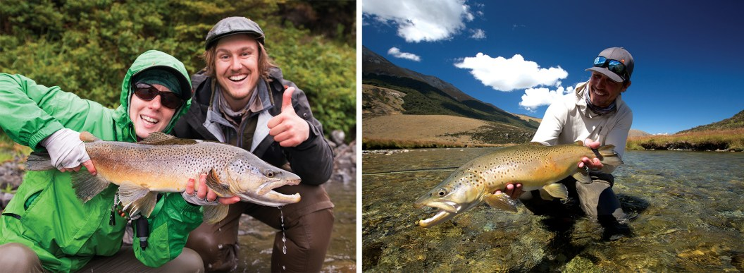 Christine Marozick, of Bozeman, Montana, and Jack Kos, of Christchurch, New Zealand, pose with a large brown trout caught in New Zealand's Southern Alps. By Ben Pierce   Brown trout caught with a skinny water cicada victim (Oreti River, New Zealand) By Brett Seng