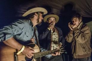 Cruz Contreras of The Black Lillies, Frank Bronson of The Bus Driver Tour and Jonathan Henley on harmonica.
