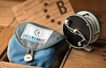 Each SC Series Bozeman Reel is presented in a wooden box and comes with a handcrafted case made from recycled material from a Bozeman gear company.