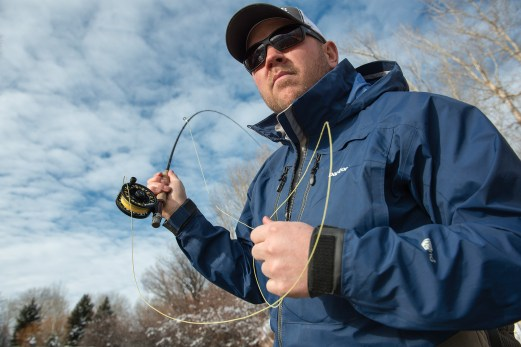 Dan Rice fishes an RS Series reel on a small stream near Bozeman Reel headquarters.