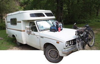 The author's 1977 Toyota Chinook micro-camper, customized to accommodate his fly-fishing road trips, has been a reliable part of his sporting life for the last 30 years, including trips to Idaho's Summit Creek, lower left.