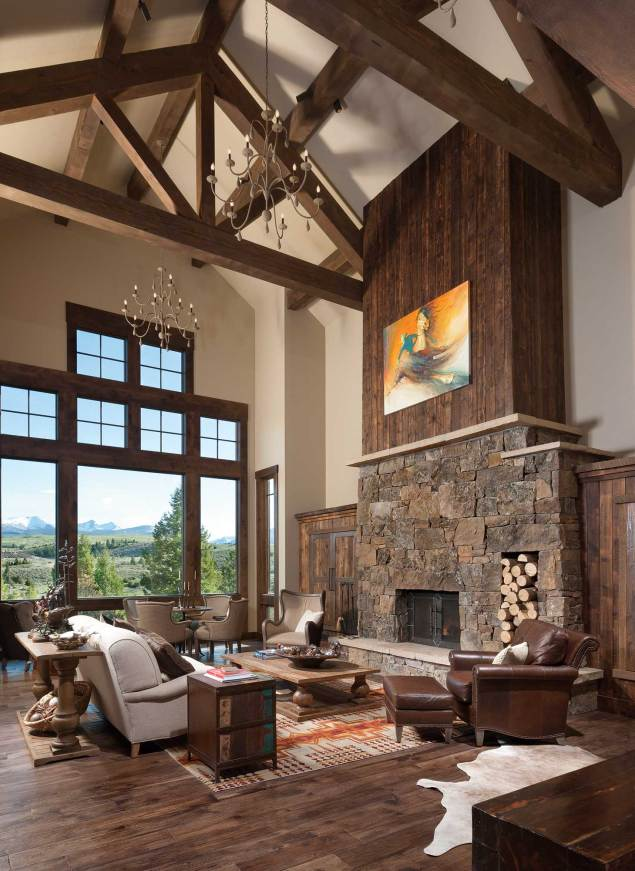 Towering windows not only provide mountain views but also allow plenty of natural light into the home.