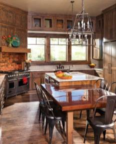 Like the rest of the home, the kitchen combines the best of both worlds: rich, rustic wood and bright, modern accents.