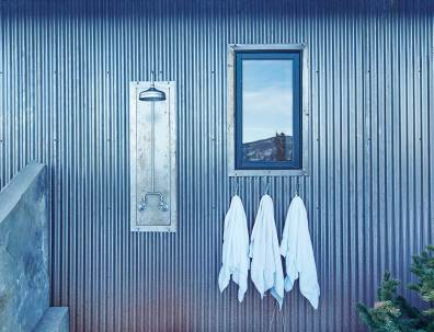 An outdoor shower is a nice amenity for summer days.