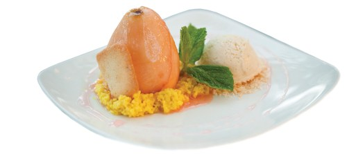 A poached pear dessert to quell the spices on your palate.