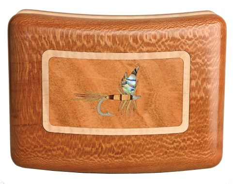 Custom fly boxes named for Montana rivers: Blackfoot, Yellowstone, Madison and Smith