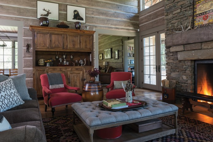 """""""The log walls make the house,"""" Hayes says. """"If you took the log walls and the stone fireplace away, it wouldn't feel like a mountain home."""""""