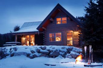 Remote yet still close to home, the cabin offers easy access to ice skating, cross-country skiing and snowshoeing.