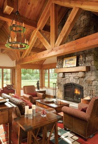In Form Design cultivated comfort and sophistication from the historic influences of Montana, and relied on natural elements to determine the color palette of reds and earth tones. Timber framing from Constructive Solutions defines the architecture of the home with elegant craftsmanship.