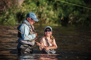 Nine-year-old Lola Randolph was helped through the tenkara process by Chouinard himself. The Patagonia founder was noticeably eager to involve the younger generation — the future conservationists and anglers.