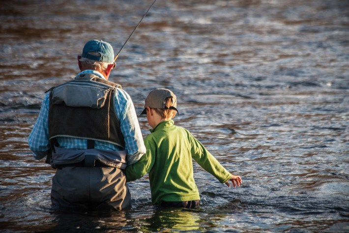 Although timid at first, young Jack Emery quickly gained confidence under the expert tutelage of Chouinard, and soon hooked into a fish as the Idaho sun dipped below the horizon.