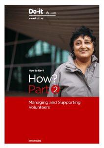How Part 2 - managing and supporting volunteers