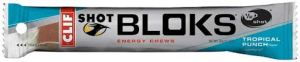 Shot bloks, are kind of like chewy candies for runners.  They have caffeine in them.  Tropical Punch is my favorite flavor so far.