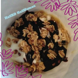 Dessert: Passion fruit yoghurt (2 Tbsp) a drizzle of hot fudge, and Blueberry KIND granola