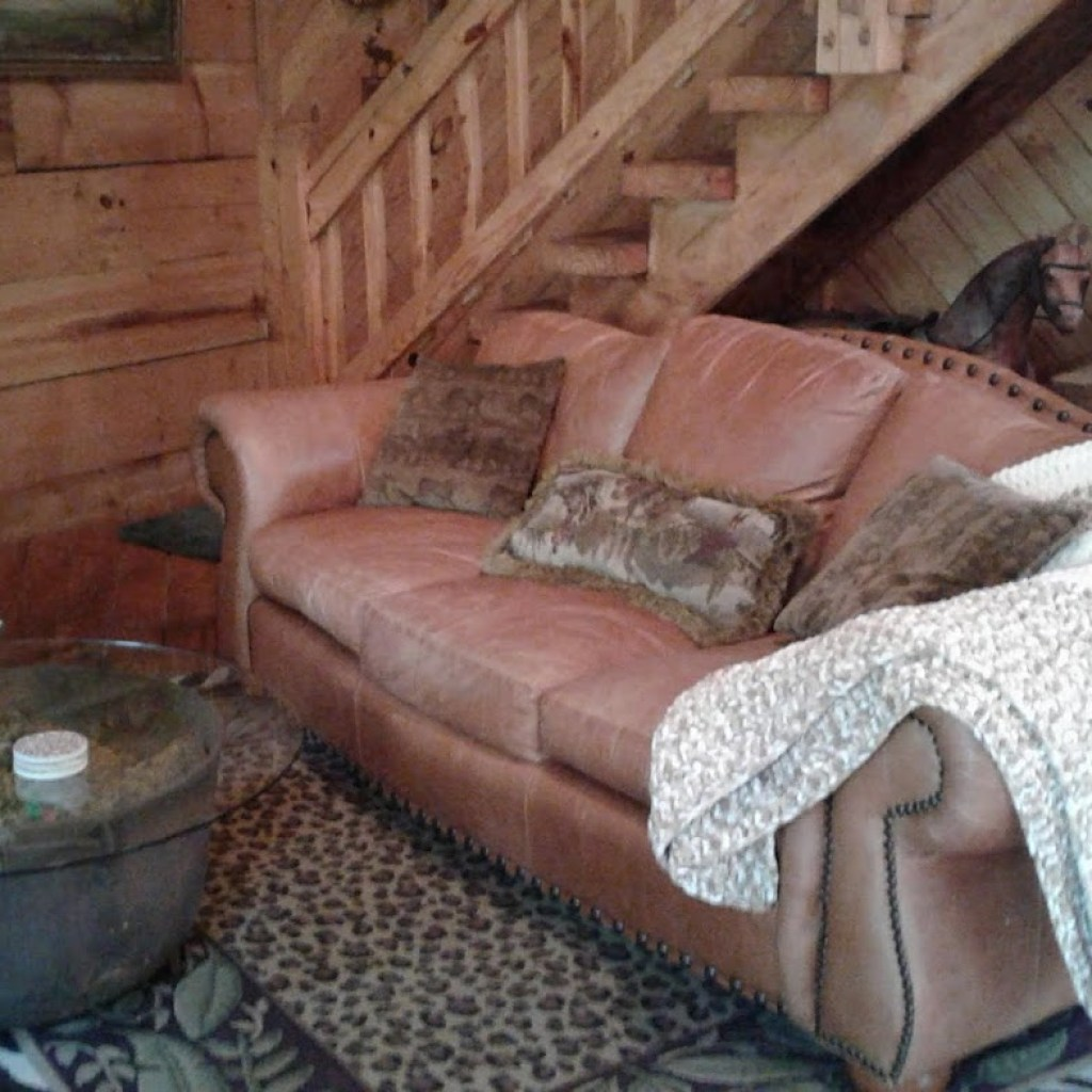 Leather comfy couch