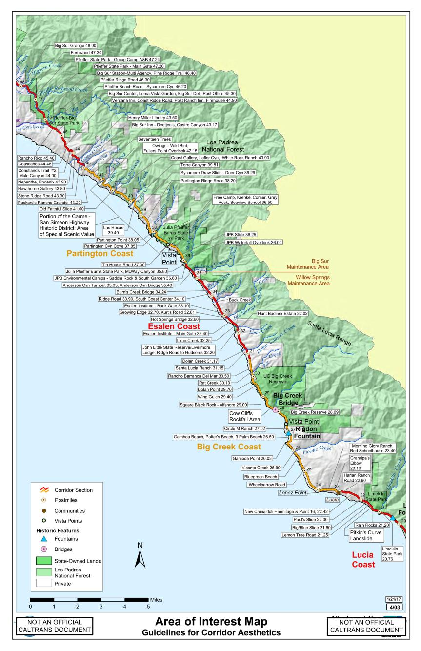 Big Sur Interactive Highway Maps with Slide Names & Mile ...