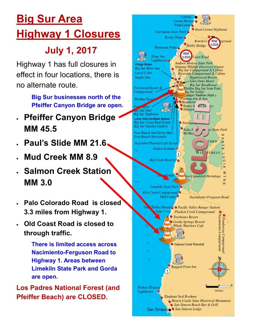Big Sur State Park Opening & Highway Closure Map – BigSurKate