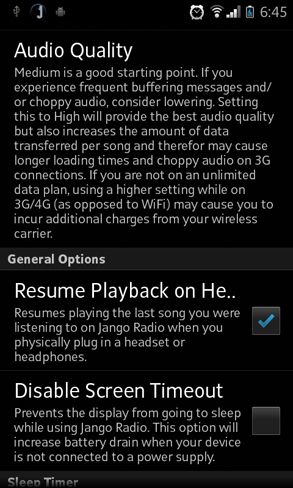 android-jango-radio-options