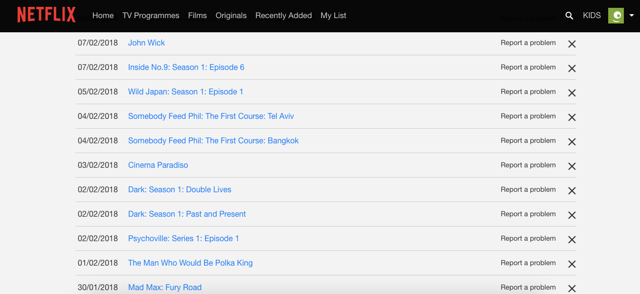 Delete Netflix history
