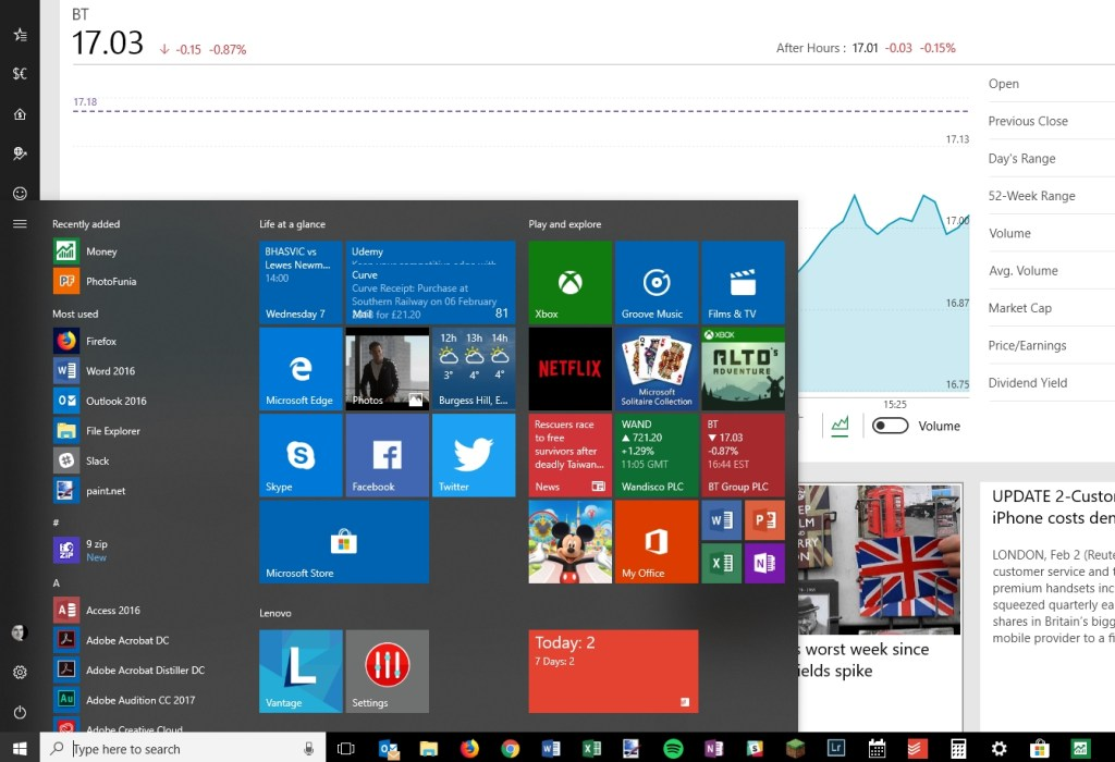 Share prices in Windows
