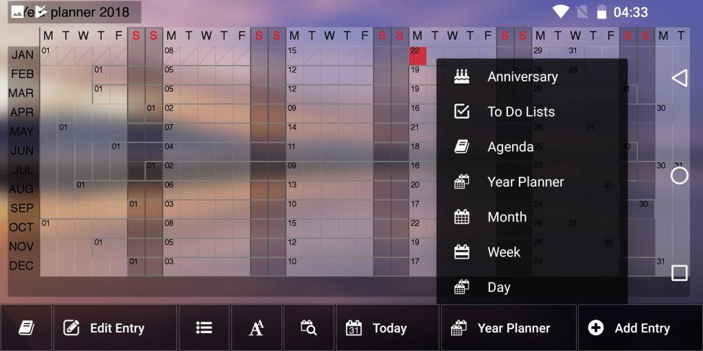 Calendar view on Gemini PDA