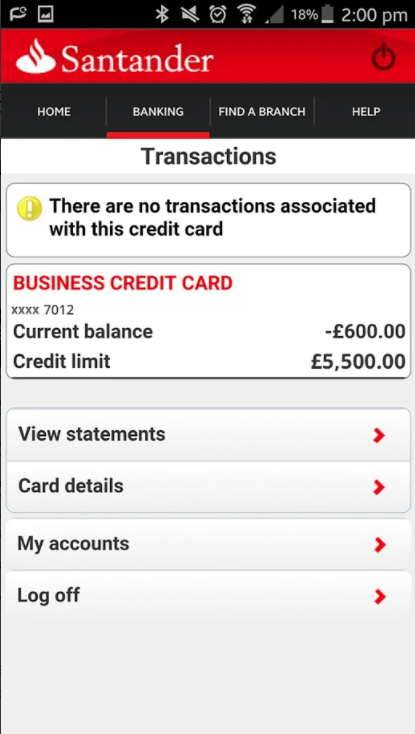 Santander Business Banking app