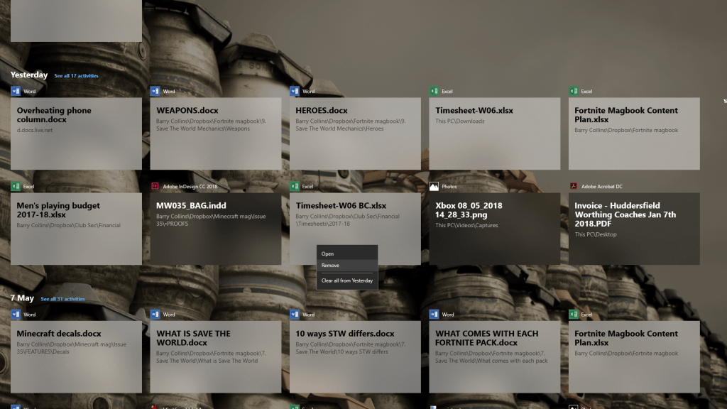 Remove items from Windows 10 Timeline