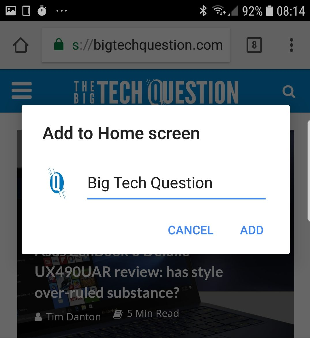 Add website icon to Android home screen