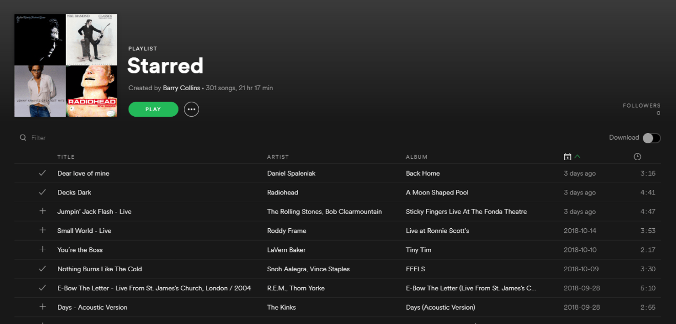 reverse the order of a Spotify playlist