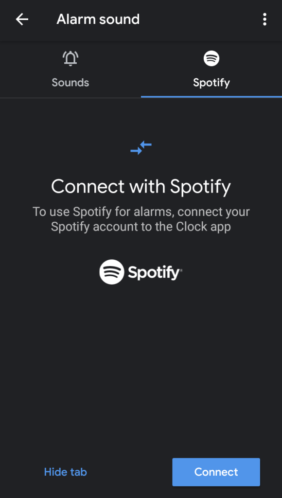 Spotify Android alarm
