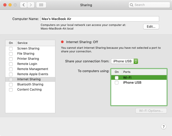 Internet sharing on Apple MacBook