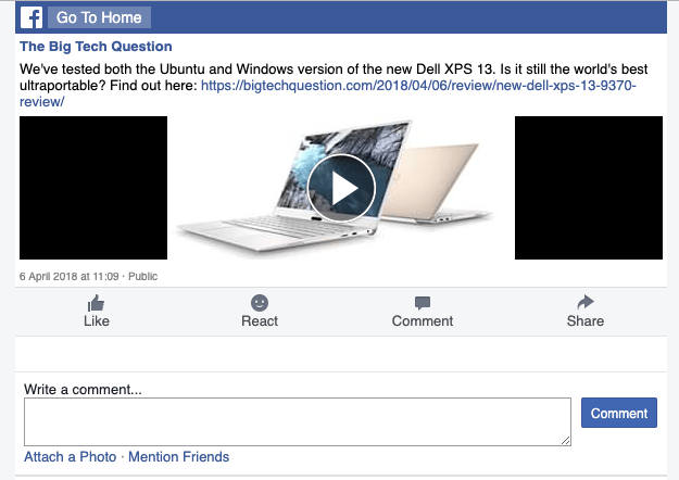 Basic Facebook video page