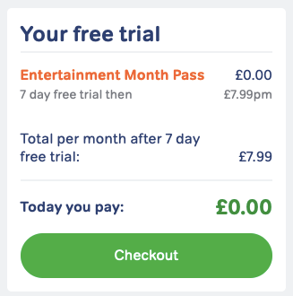 Entertainment Pass checkout