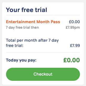 Entertainment Pass checkout