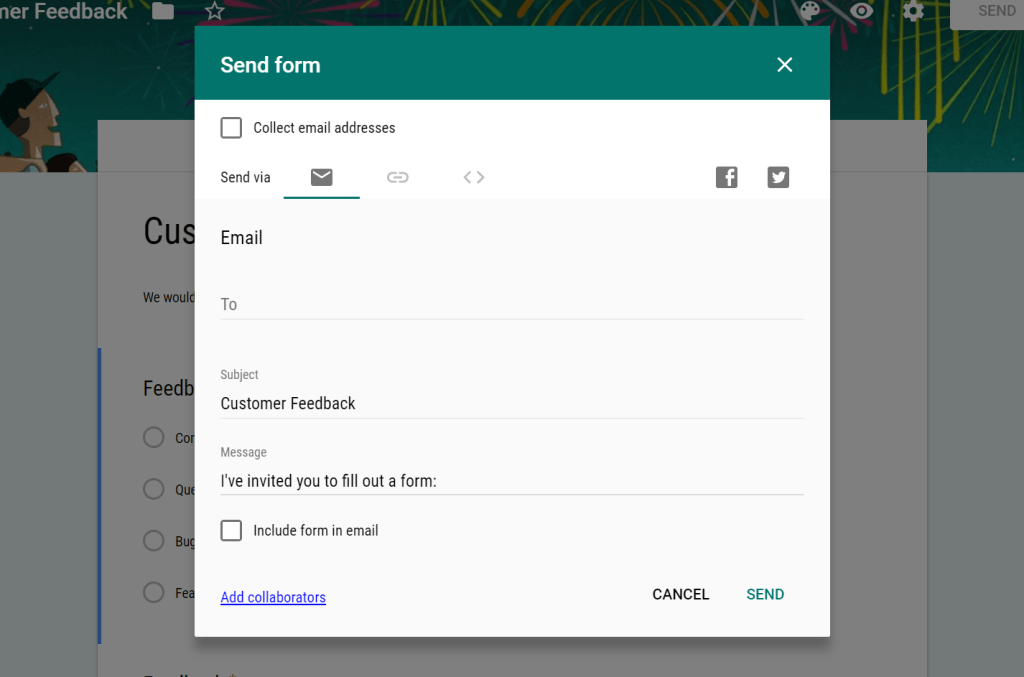 sharing a Google Form